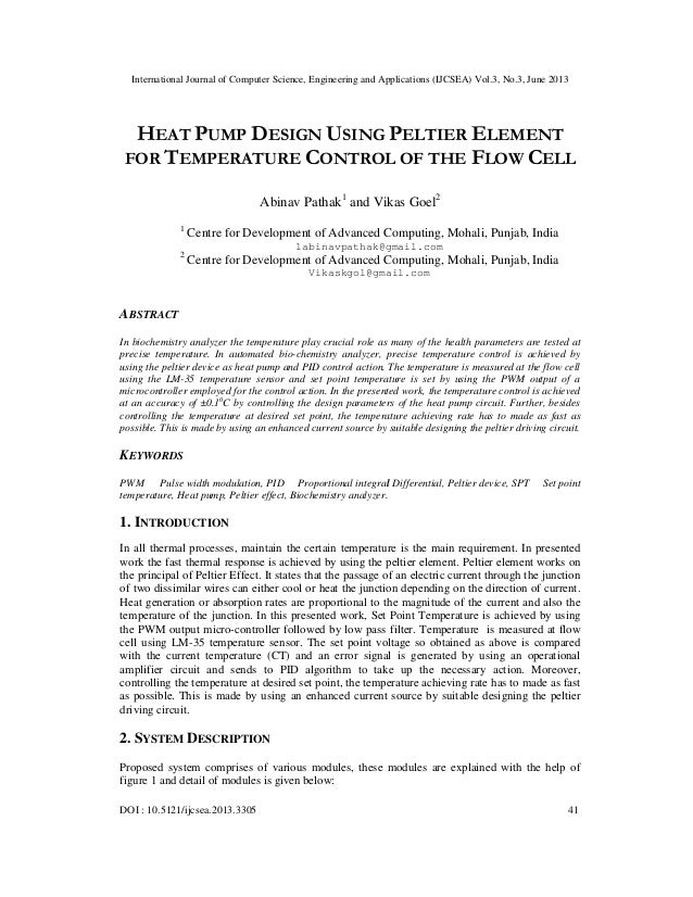 Heat pump design using peltier element For temperature control of the flow cell