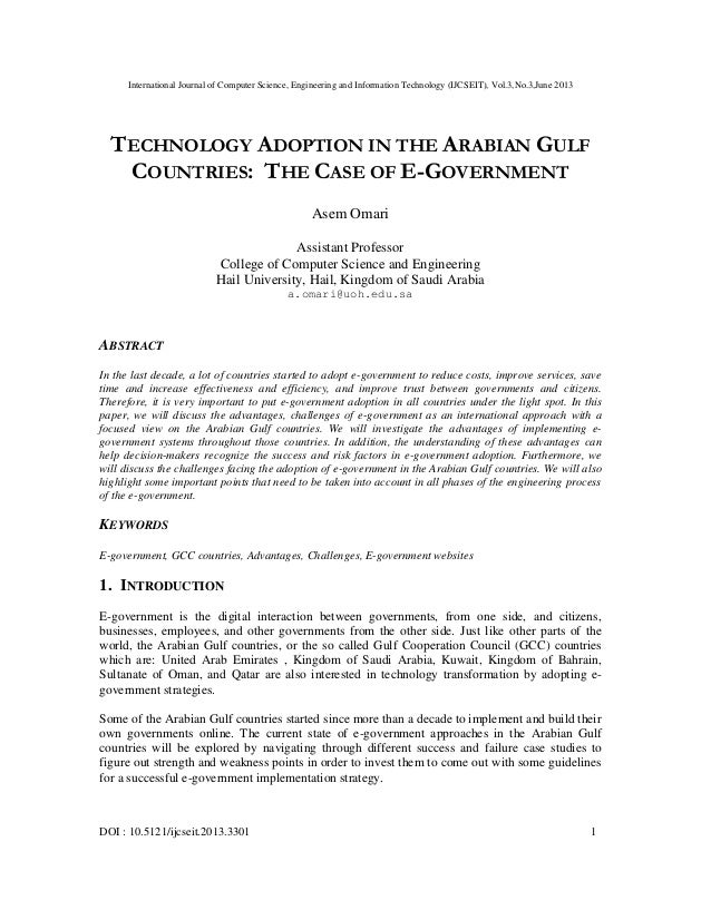 Technology Adoption In The Arabian Gulf Countries: The Case Of E-Government