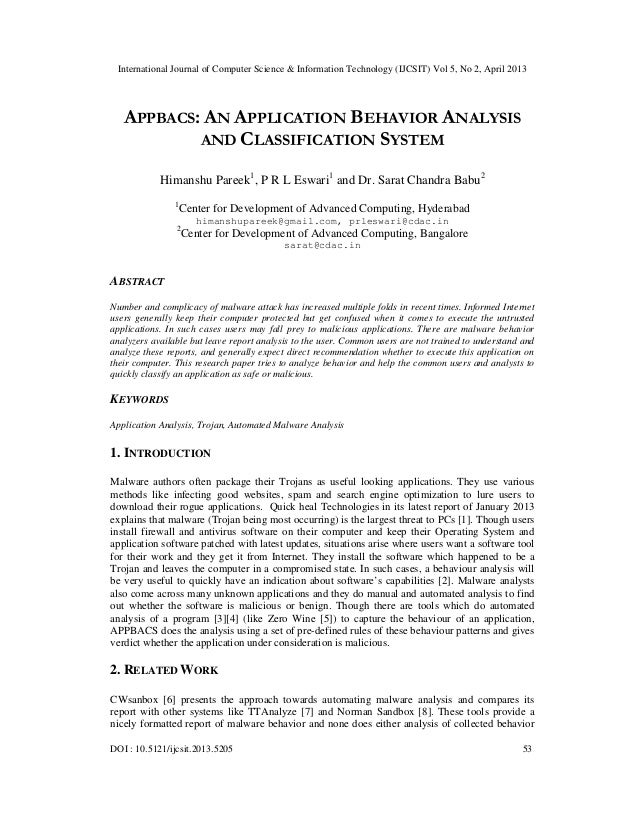 APPBACS: AN APPLICATION BEHAVIOR ANALYSIS AND CLASSIFICATION SYSTEM