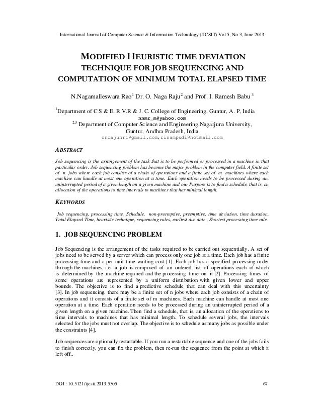 Modified heuristic time deviation Technique for job sequencing and Computation of minimum total elapsed time