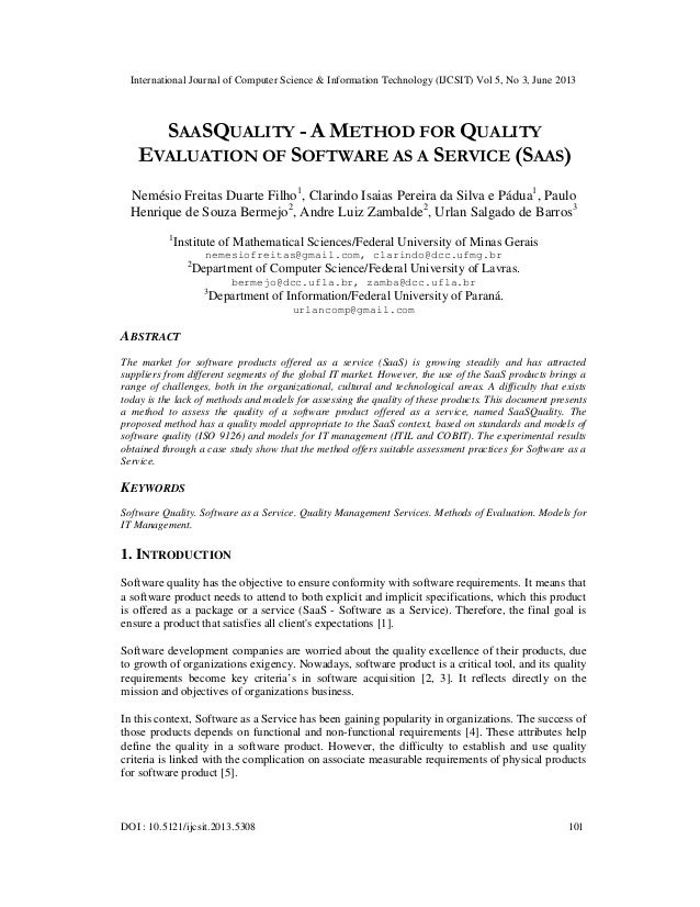 Saasquality - A Method For Quality Evaluation Of Software As A Service (Saas)