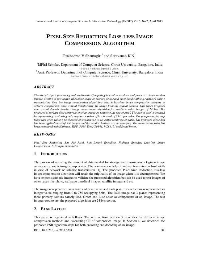 PIXEL SIZE REDUCTION LOSS-LESS IMAGE COMPRESSION ALGORITHM