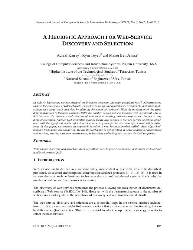 A HEURISTIC APPROACH FOR WEB-SERVICE DISCOVERY AND SELECTION