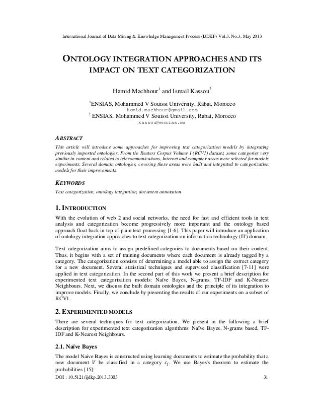 International Journal of Data Mining & Knowledge Management Process (IJDKP) Vol.3, No.3, May 2013DOI : 10.5121/ijdkp.2013....