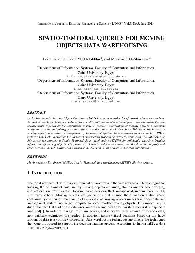International Journal of Database Management Systems ( IJDMS ) Vol.5, No.3, June 2013 DOI : 10.5121/ijdms.2013.5301 1 SPAT...