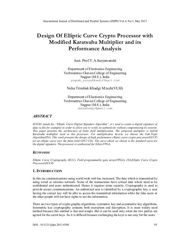 Design Of Elliptic Curve Crypto Processor with Modified Karatsuba Multiplier and its Performance Analysis