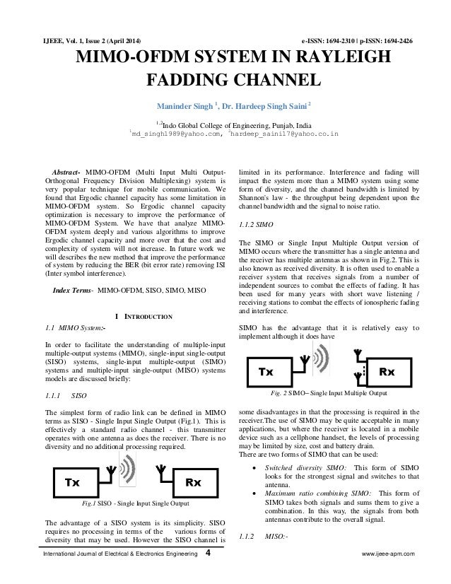 MIMO-OFDM SYSTEM IN RAYLEIGH FADDING CHANNEL