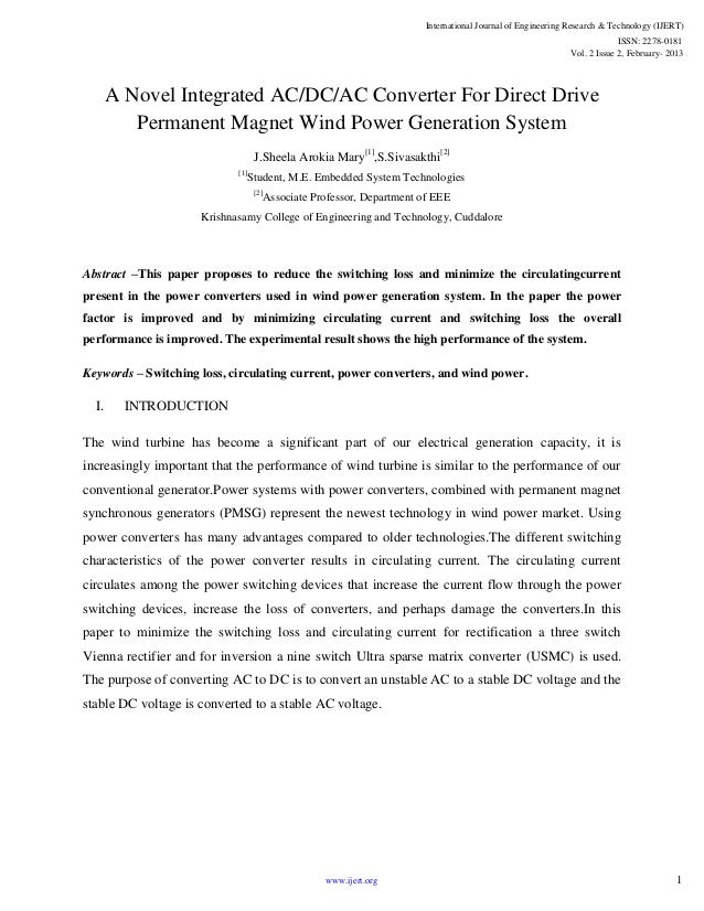 A Novel Integrated AC/DC/AC Converter For Direct Drive Permanent Magnet Wind Power Generation System J.Sheela Arokia Mary[...