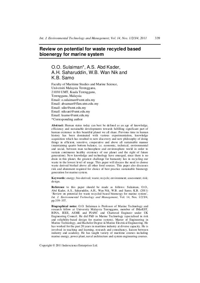 Int. J. Environmental Technology and Management, Vol. 14, Nos. 1/2/3/4, 2011                339Review on potential for was...
