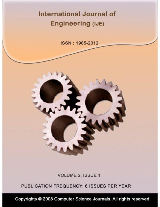 International Journal of Engineering (IJE) Volume (2)  Issue (1)