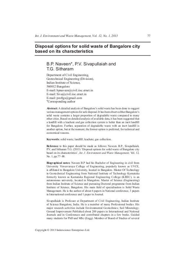 Int. J. Environment and Waste Management, Vol. 12, No. 1, 2013  Disposal options for solid waste of Bangalore city based o...