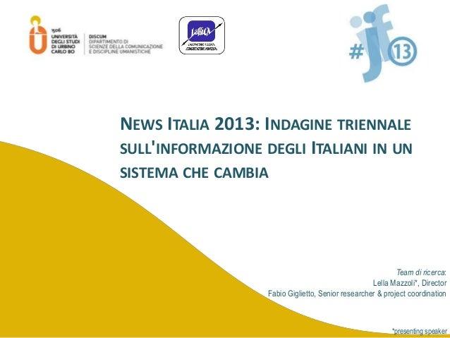 News Italia 2013: Indagine triennale sull'informazione degli Italiani in un sistema che cambia