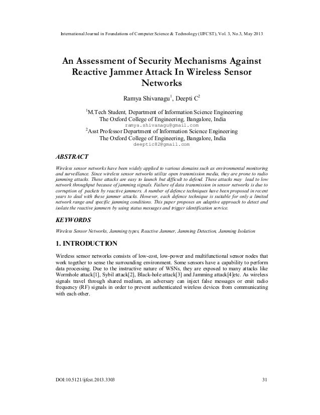 An Assessment of Security Mechanisms Against Reactive Jammer Attack In Wireless Sensor Networks