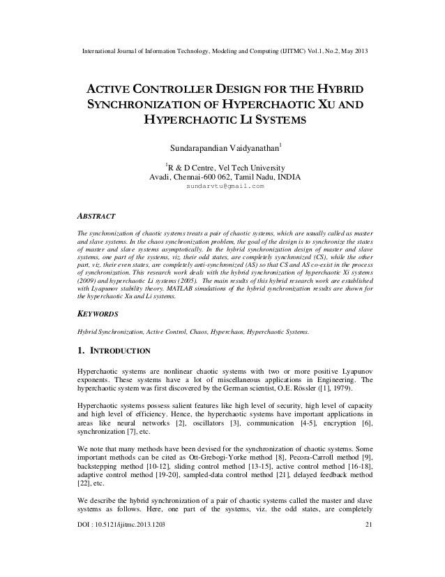 International Journal of Information Technology, Modeling and Computing (IJITMC) Vol.1, No.2, May 2013DOI : 10.5121/ijitmc...