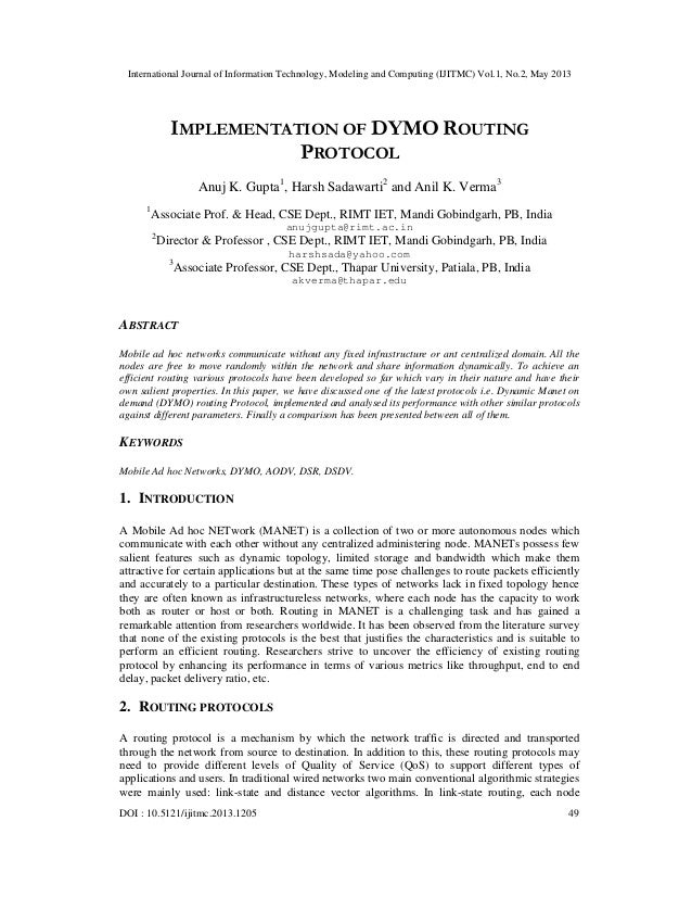 IMPLEMENTATION OF DYMO ROUTING PROTOCOL