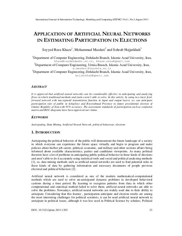 APPLICATION OF ARTIFICIAL NEURAL NETWORKS IN ESTIMATING PARTICIPATION IN ELECTIONS
