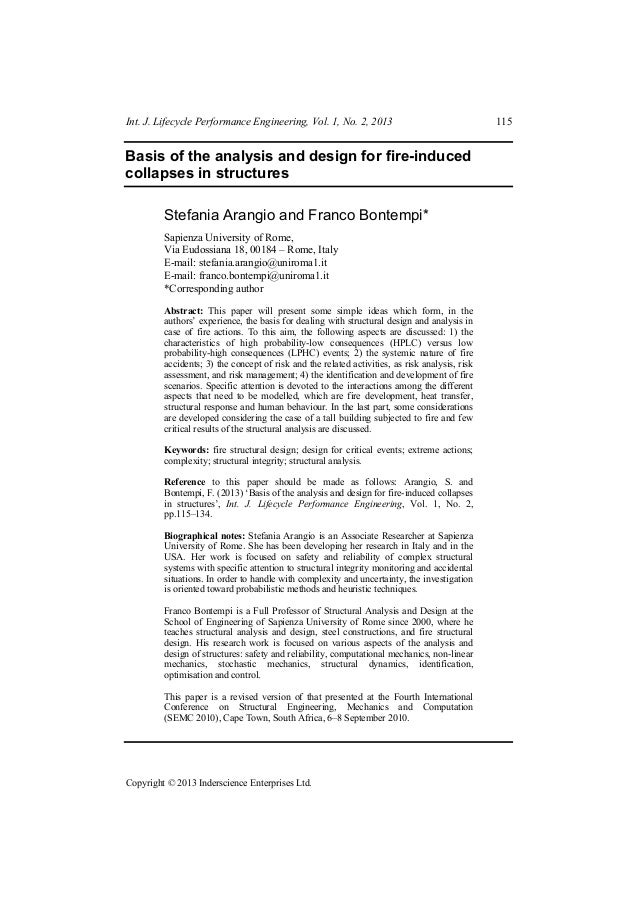 Int. J. Lifecycle Performance Engineering, Vol. 1, No. 2, 2013  Basis of the analysis and design for fire-induced collapse...