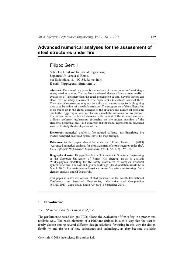 Int. J. Lifecycle Performance Engineering, Vol. 1, No. 2, 2013  159  Advanced numerical analyses for the assessment of ste...