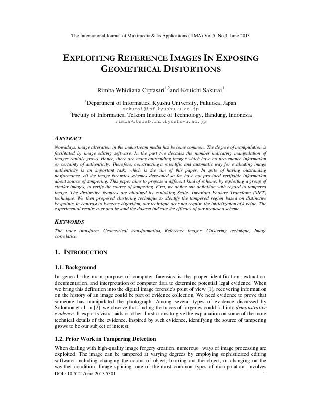 EXPLOITING REFERENCE IMAGES IN EXPOSING GEOMETRICAL DISTORTIONS