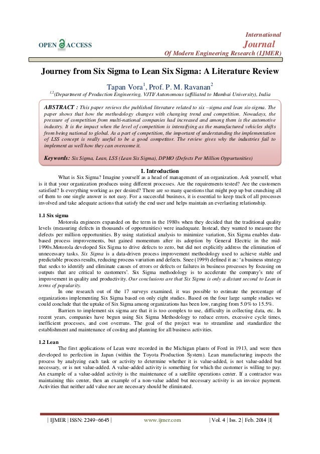 International OPEN  Journal  ACCESS  Of Modern Engineering Research (IJMER)  Journey from Six Sigma to Lean Six Sigma: A L...