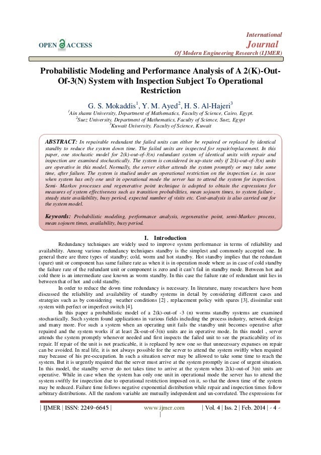 International OPEN  Journal  ACCESS  Of Modern Engineering Research (IJMER)  Probabilistic Modeling and Performance Analys...