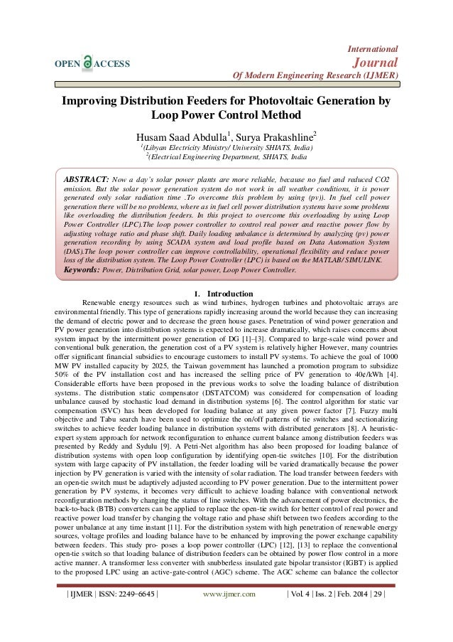 Improving Distribution Feeders for Photovoltaic Generation by Loop Power Control Method