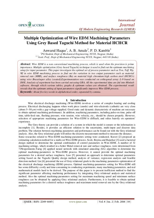 Multiple Optimization of Wire EDM Machining Parameters Using Grey Based Taguchi Method for Material HCHCR