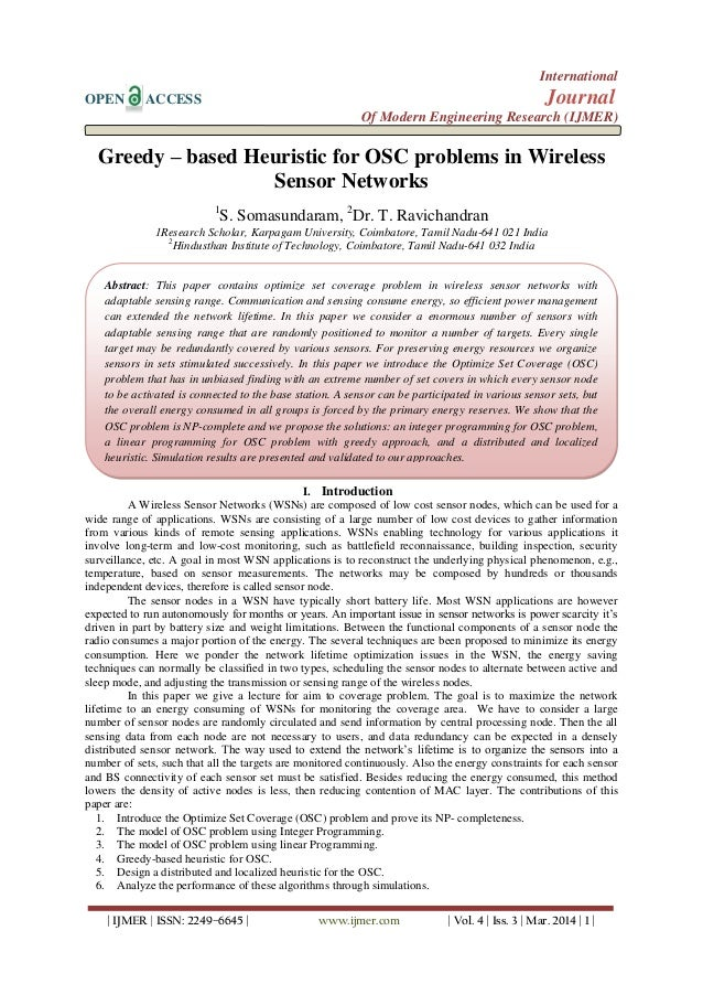 Greedy – based Heuristic for OSC problems in Wireless Sensor Networks
