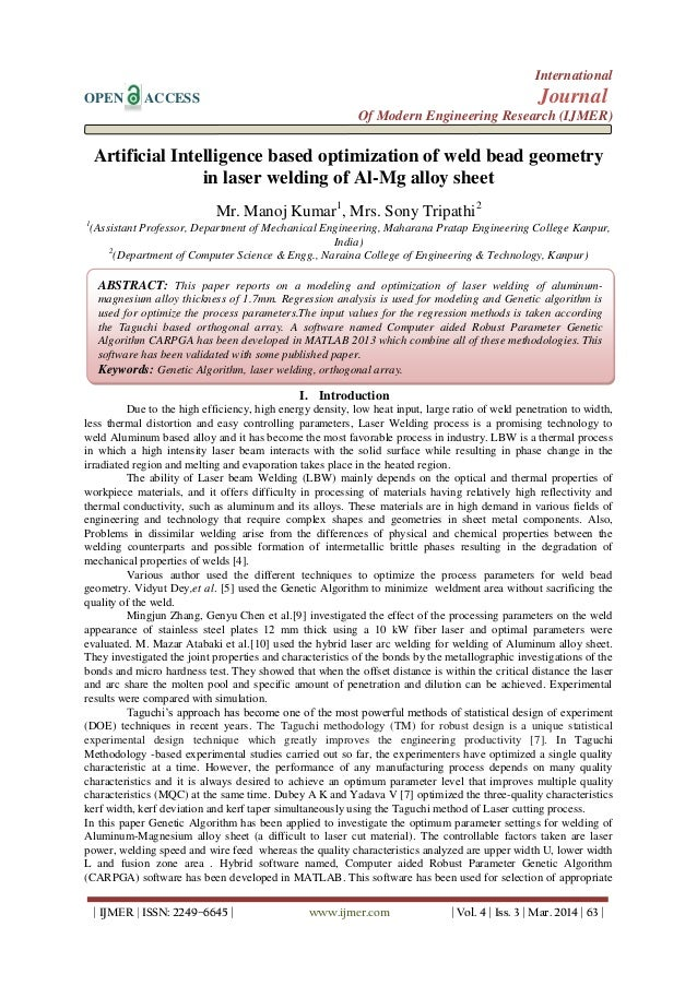 Artificial Intelligence based optimization of weld bead geometry in laser welding of Al-Mg alloy sheet