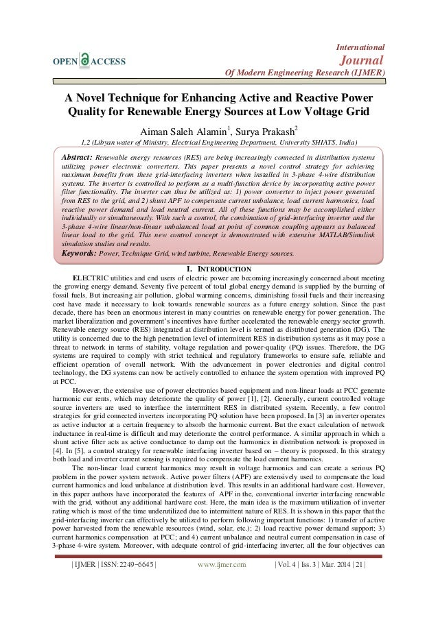 A Novel Technique for Enhancing Active and Reactive Power Quality for Renewable Energy Sources at Low Voltage Grid
