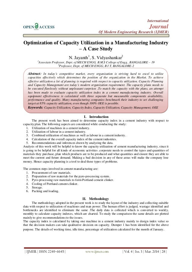 Optimization of Capacity Utilization in a Manufacturing Industry – A Case Study
