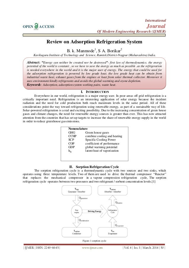 Review on Adsorption Refrigeration System