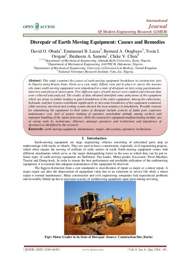 Disrepair of Earth Moving Equipment: Causes and Remedies