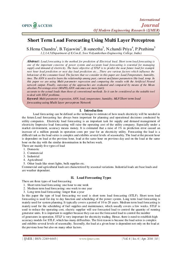 Short Term Load Forecasting Using Multi Layer Perceptron