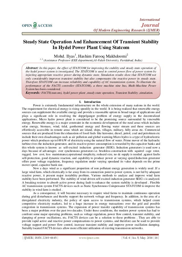 Steady State Operation And Enhancement Of Transient Stability  In Hydel Power Plant Using Statcom
