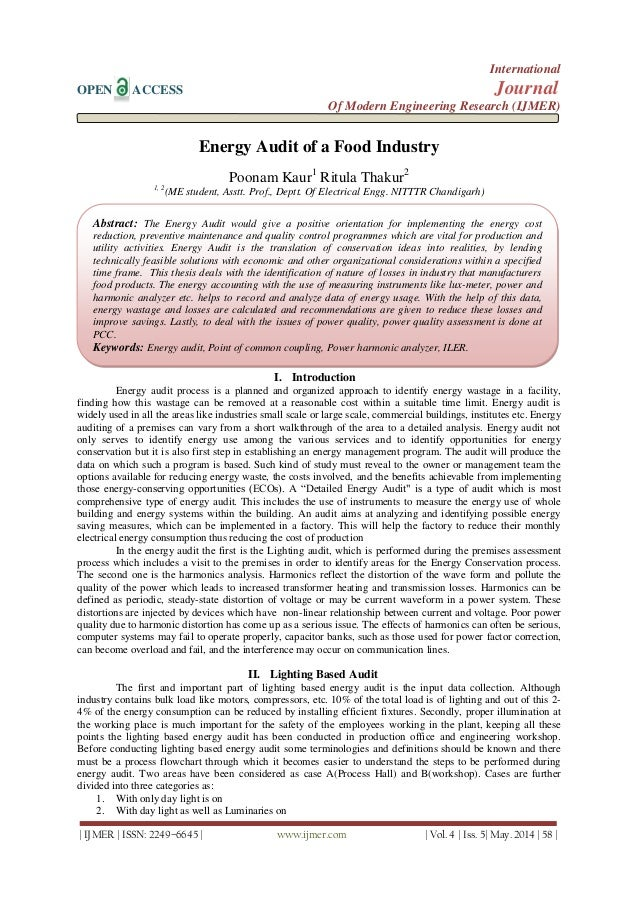 Energy Audit of a Food Industry