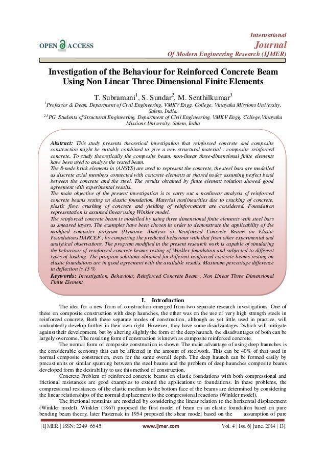 Investigation of the Behaviour for Reinforced Concrete Beam  Using Non Linear Three Dimensional Finite Elements
