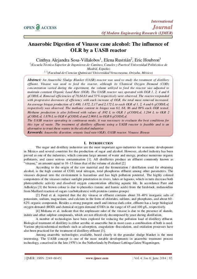 Anaerobic Digestion of Vinasse cane alcohol: The influence of  OLR by a UASB reactor