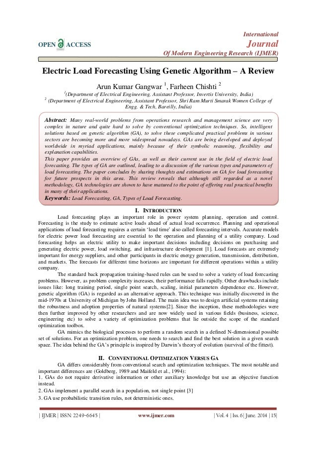 Electric Load Forecasting Using Genetic Algorithm – A Review