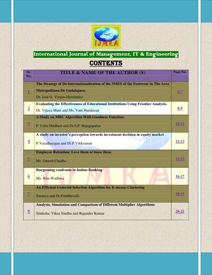 International Journal of Management, IT & Engineering                                       CONTENTSSr.                  T...