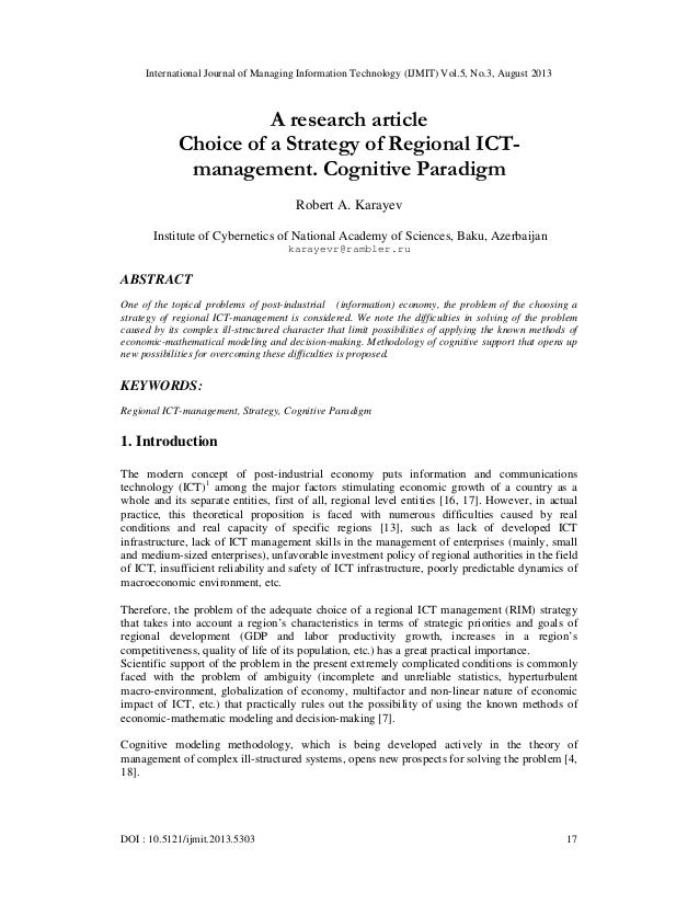 A research article Choice of a Strategy of Regional ICTmanagement. Cognitive Paradigm
