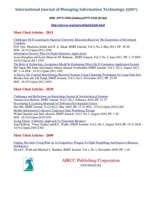 International Journal of Managing Information Technology (IJMIT) ISSN : 0975-5586 (Online);0975-5926 (Print)  http://aircc...