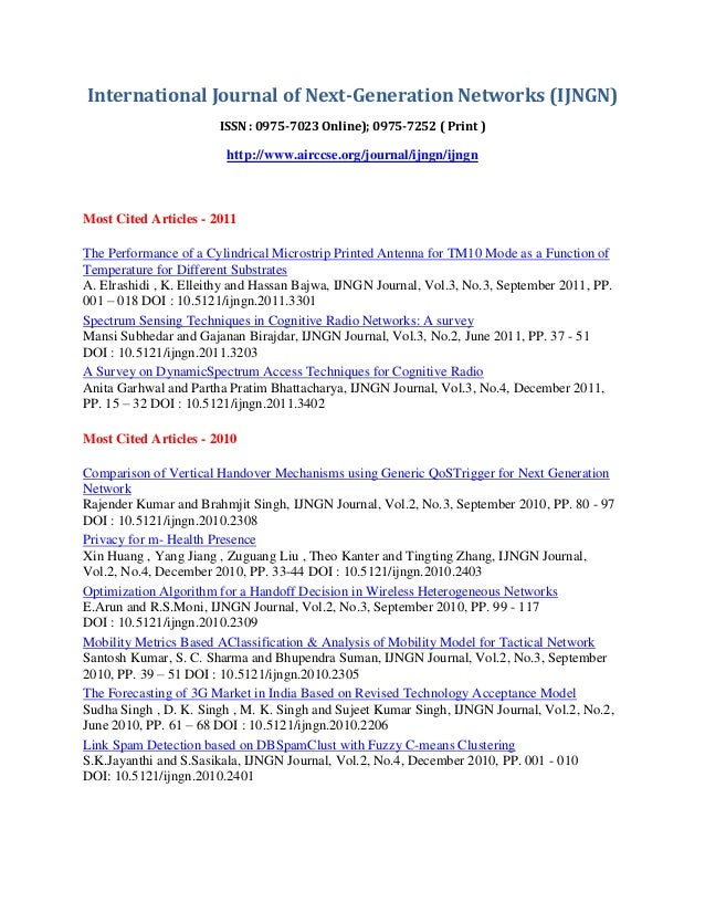 International Journal of Next - Generation Network ( IJNGN) - Most Cited Articles