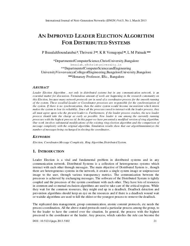 International Journal of Next-Generation Networks (IJNGN) Vol.5, No.1, March 2013    AN IMPROVED LEADER ELECTION ALGORITHM...