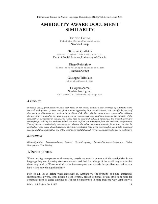 AMBIGUITY-AWARE DOCUMENT SIMILARITY