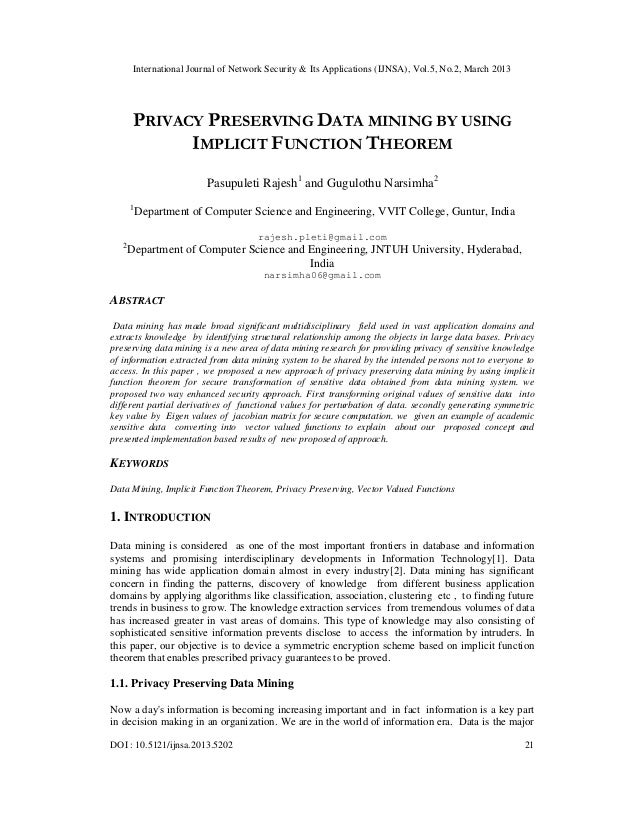 International Journal of Network Security & Its Applications (IJNSA), Vol.5, No.2, March 2013        PRIVACY PRESERVING DA...