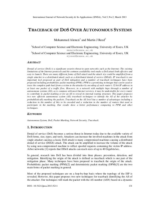 International Journal of Network Security & Its Applications (IJNSA), Vol.5, No.2, March 2013TRACEBACK OF DOS OVER AUTONOM...