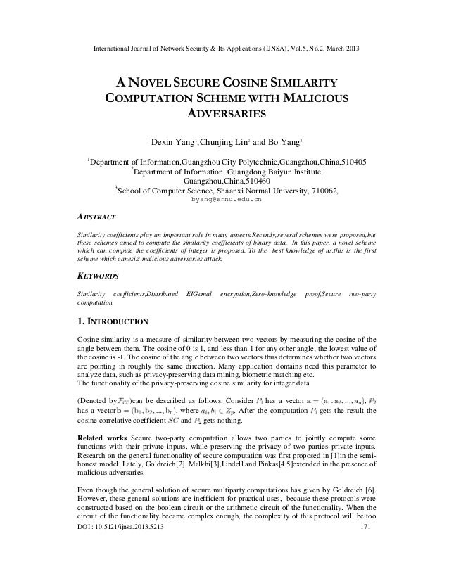 International Journal of Network Security & Its Applications (IJNSA), Vol.5, No.2, March 2013            A NOVEL SECURE CO...
