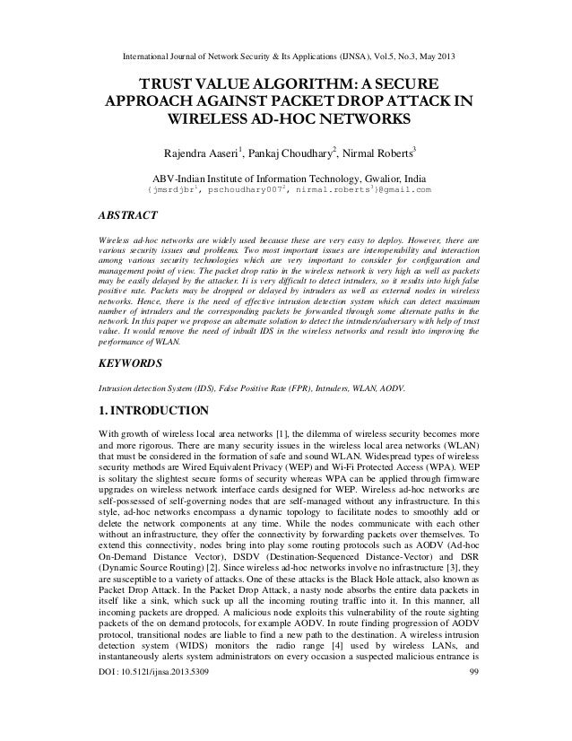 TRUST VALUE ALGORITHM: A SECURE APPROACH AGAINST PACKET DROP ATTACK IN WIRELESS AD-HOC NETWORKS