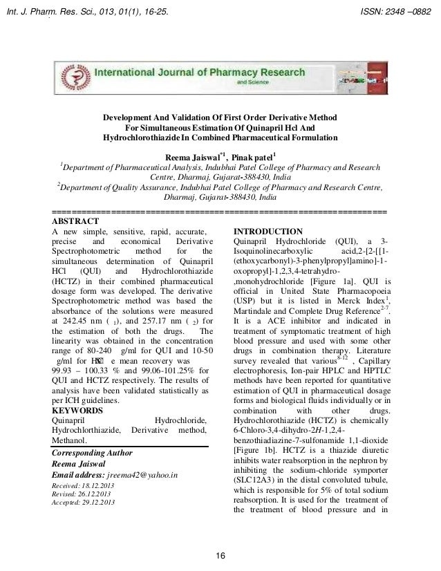 Int. J. Pharm. Res. Sci., 013, 01(1), 16-25. .  ISSN: 2348 –0882  Development And Validation Of First Order Derivative Met...